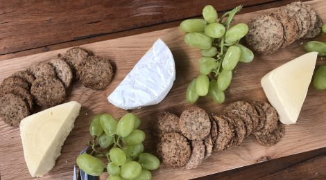 spent beer grain crackers served with cheese board